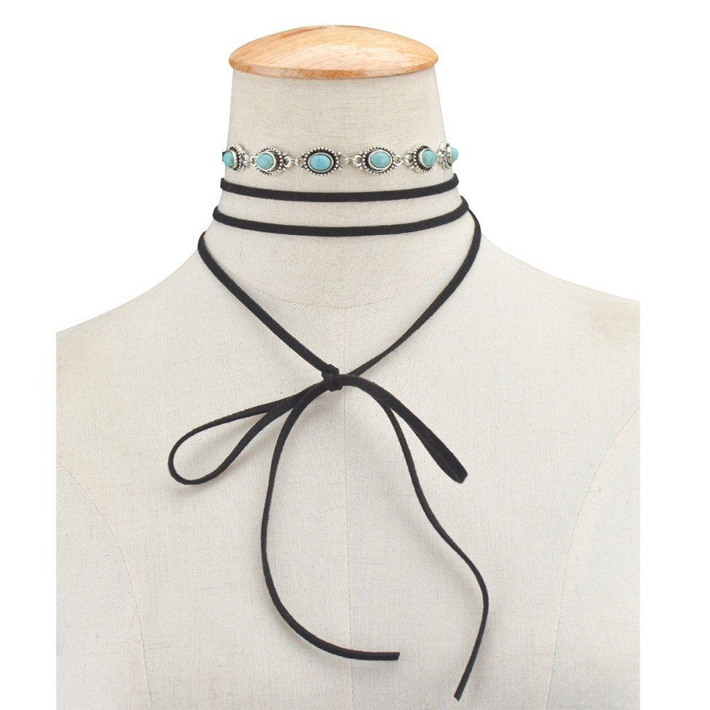 Inlaid Six Ellipse Turquoise Velvet Rope Choker Black Friday - Cyber Monday Sale