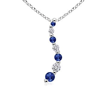 Angara Round Sapphire Circle Journey Necklace in Yellow Gold SMIMCug