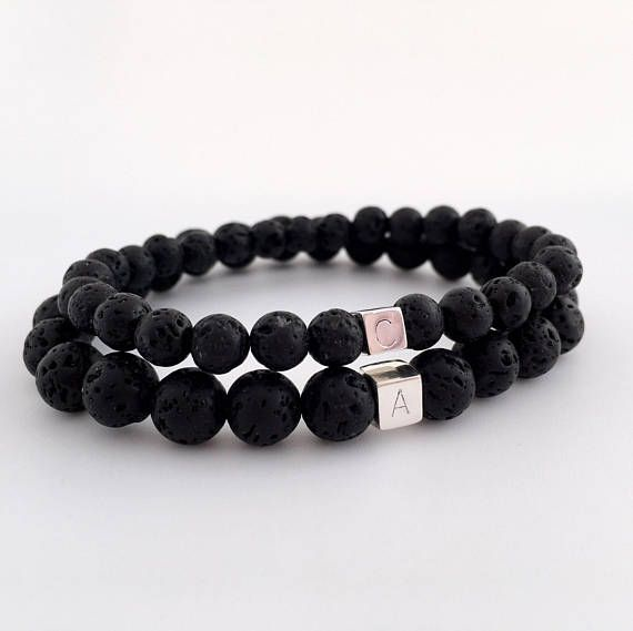 Personalised S Bracelets Black Lava Bracelet His And Boyfriend Gift Ideas Friend
