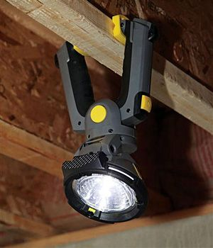 """Stanley Heavy Duty Clamp Light ($30). This 80 lumen flood light features a 350-degree rotational head to let you aim the light where you need it, the ability to run off either 2 or 4 C-cell batteries — for 15 or 30 hours of run time..."""