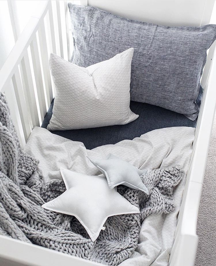 Nursery Inspiration. Cot Bedding from Cam Cam, Grey Wave - Scandikid. Image @oh.eight.oh.nine