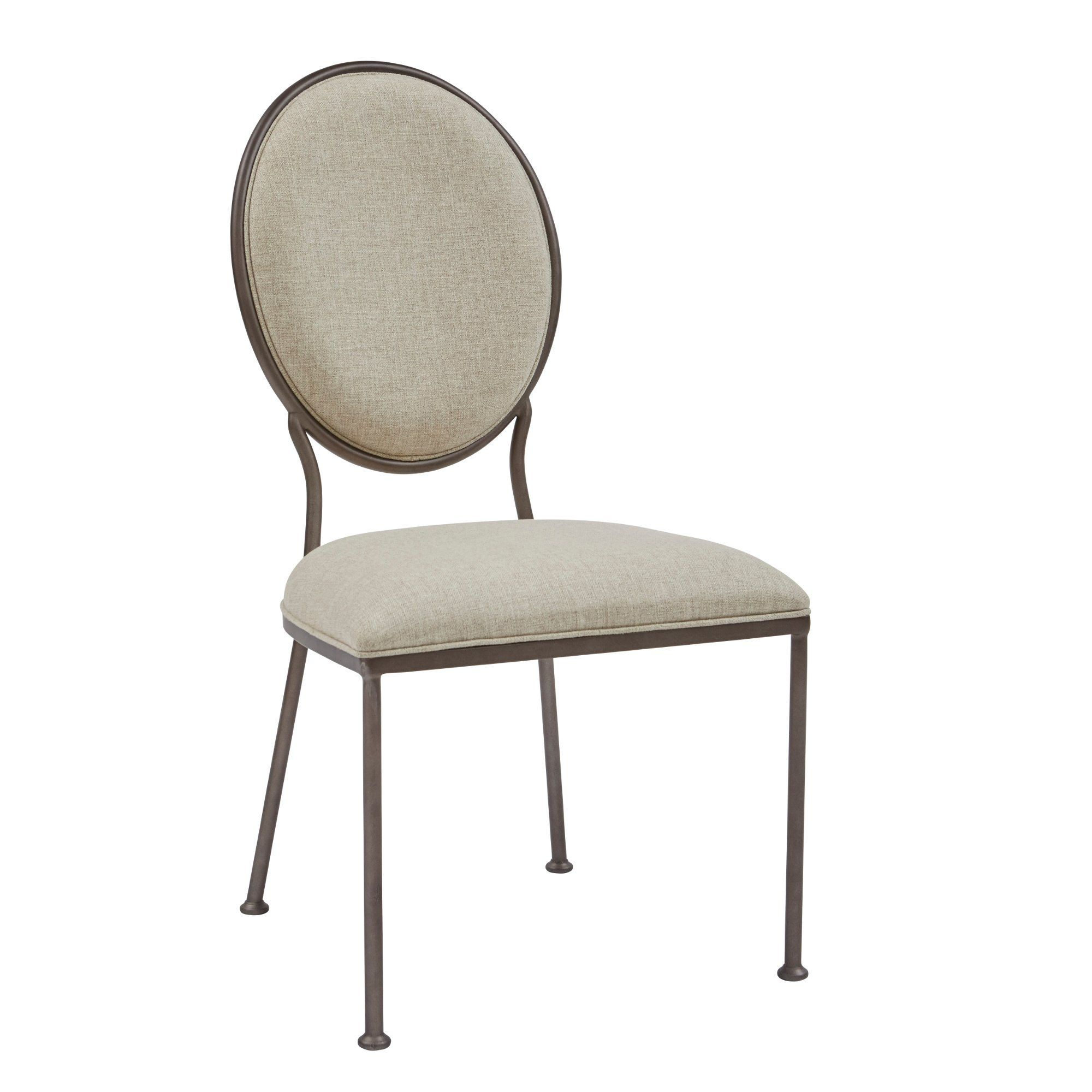 Contemporary Beige Metal Upholstered Dining Room Chair Modern