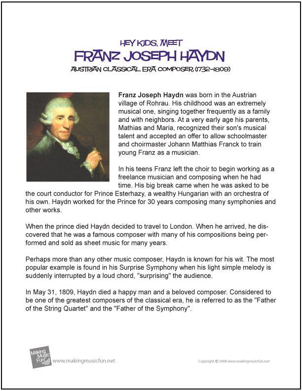 Franz Joseph Haydn Free Hey Kids Meet The Composer Biography Digital Print Haydn Music Lessons For Kids Music Lesson Plans