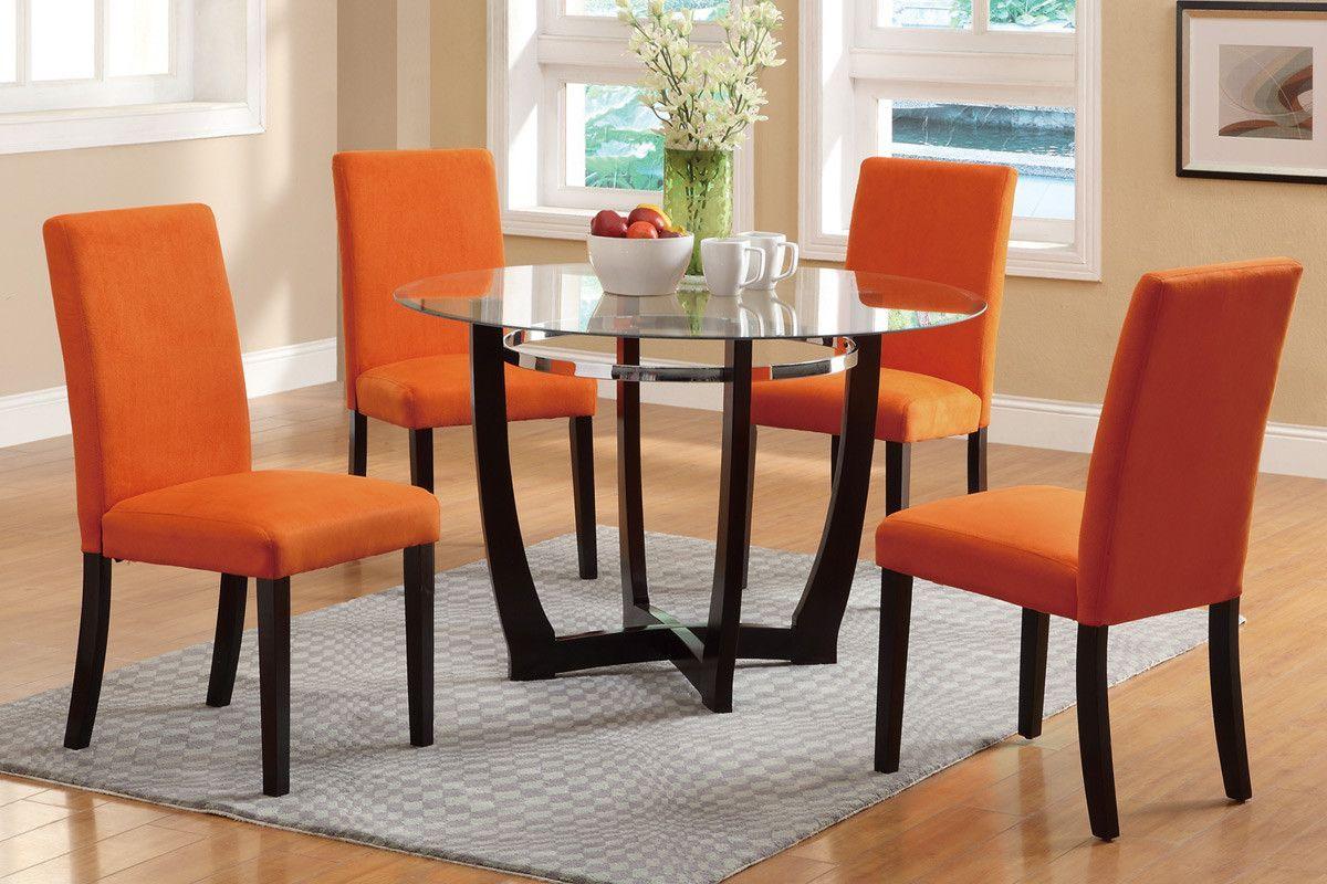 5 Piece Dining Set Orange Dining Room Chairs Orange Dining Room Leather Dining Room Chairs