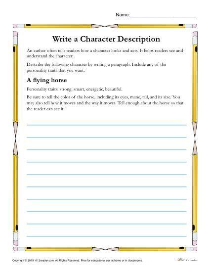 Write A Character Description Worsheet Activity Descriptive Writing,  Reading Skills Worksheets, Teaching 6th Grade