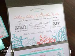 Modern Beach Coral Reef Pocket Wedding Invitations