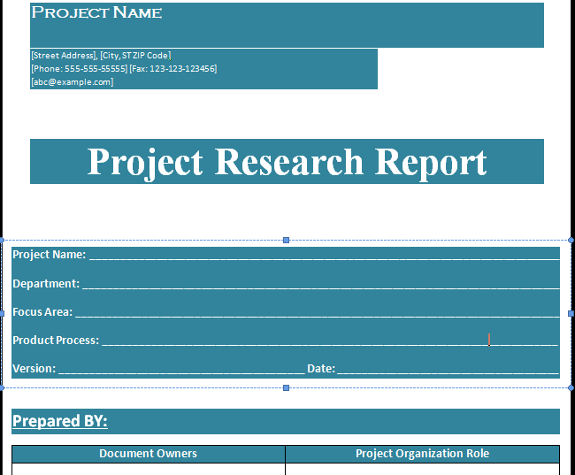 research reporting format