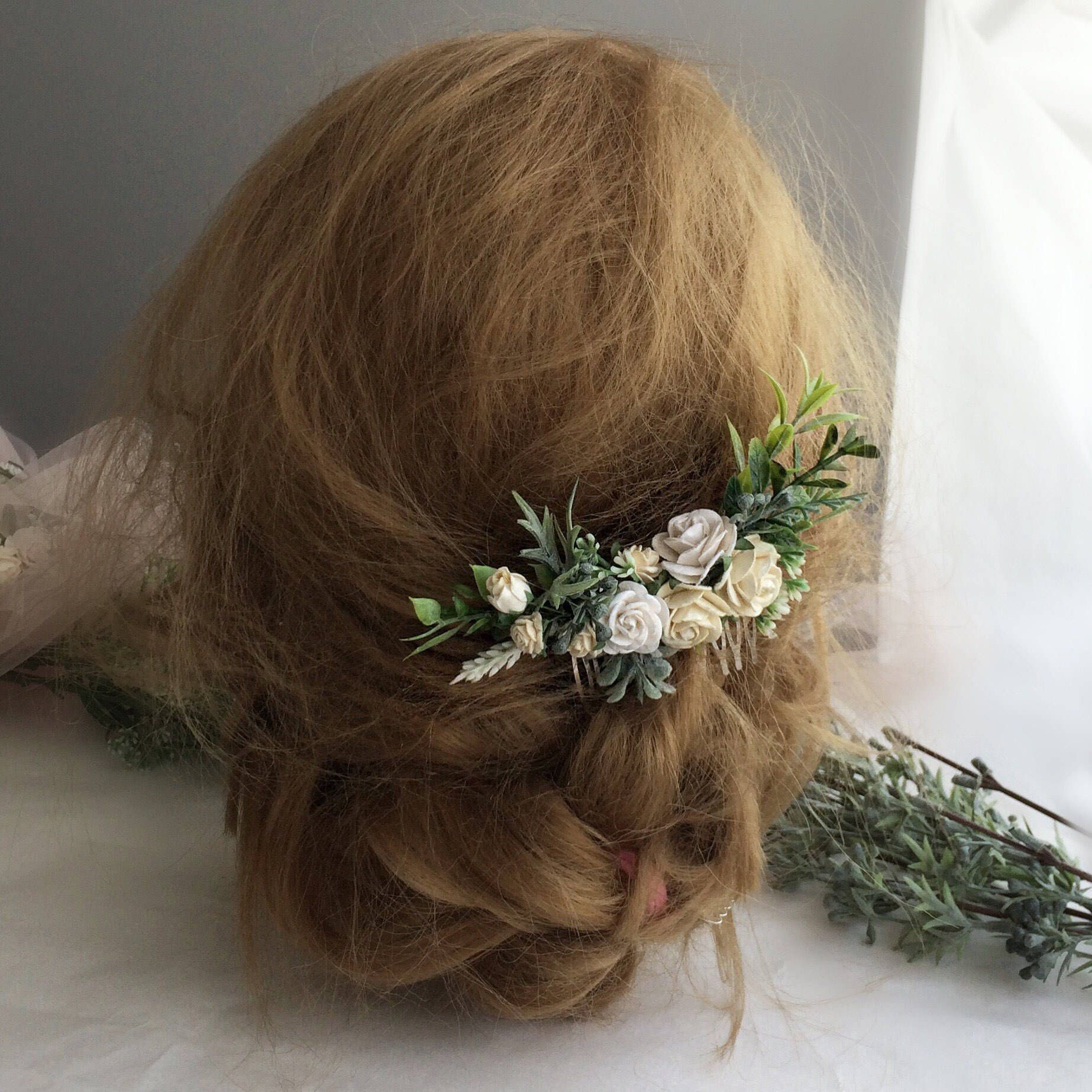 White flowers hair comb bridal floral cpmb white and green clip excited to share the latest addition to my etsy shop white flowers hair comb mightylinksfo Image collections