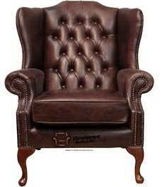 English Country Style Office | High Back Wing Chair UK Manufactured Hand  Dyed Old English Dark