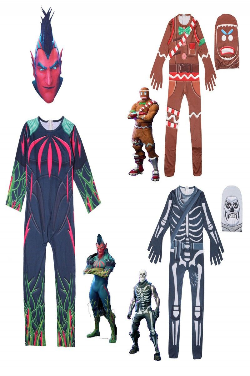 6 79 Halloween Adult Kids Fortnite Cosplay Costume Skull Trooper