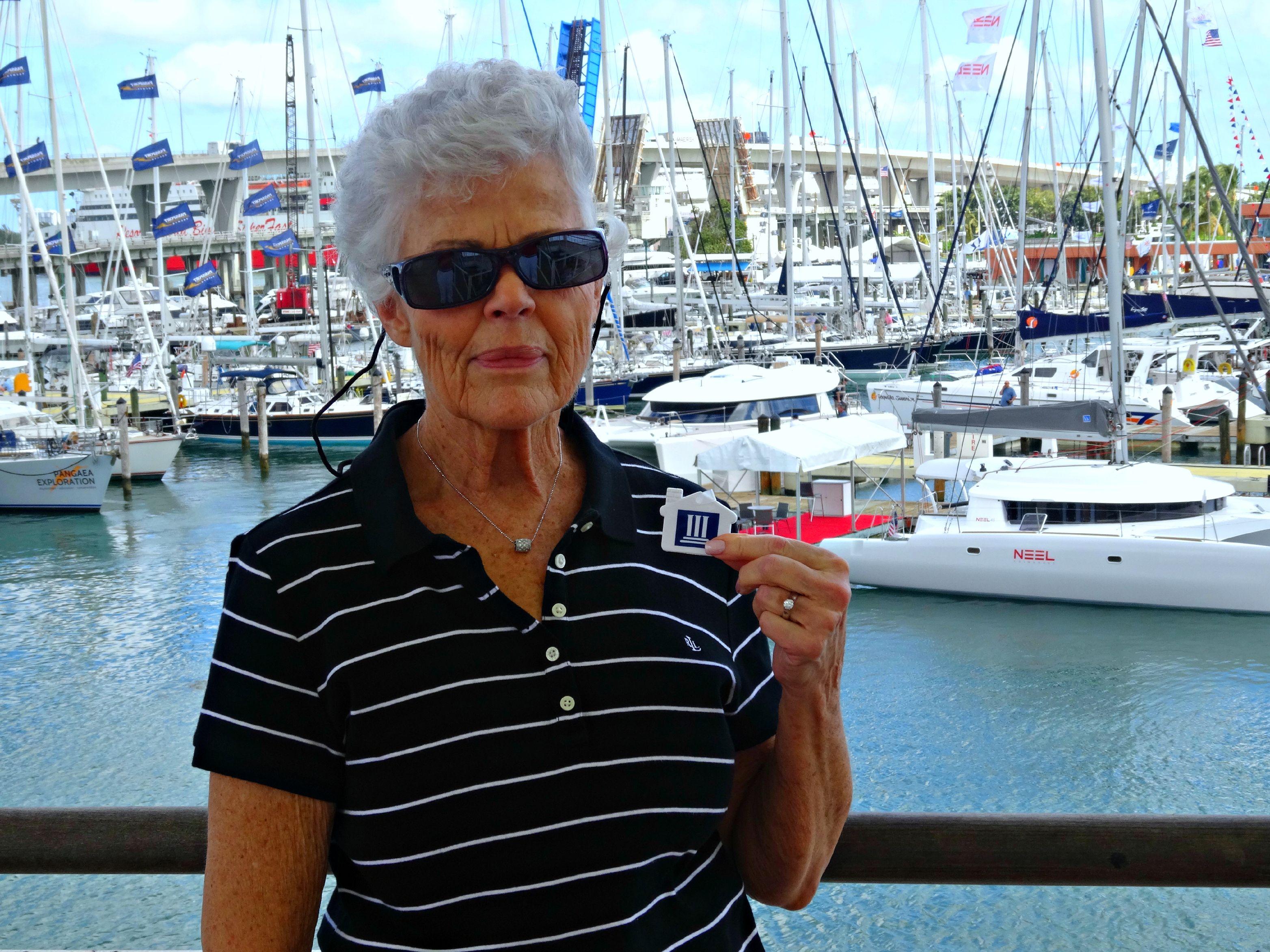 Kay enjoying the Bayside Marketplace near the Port of Miami.