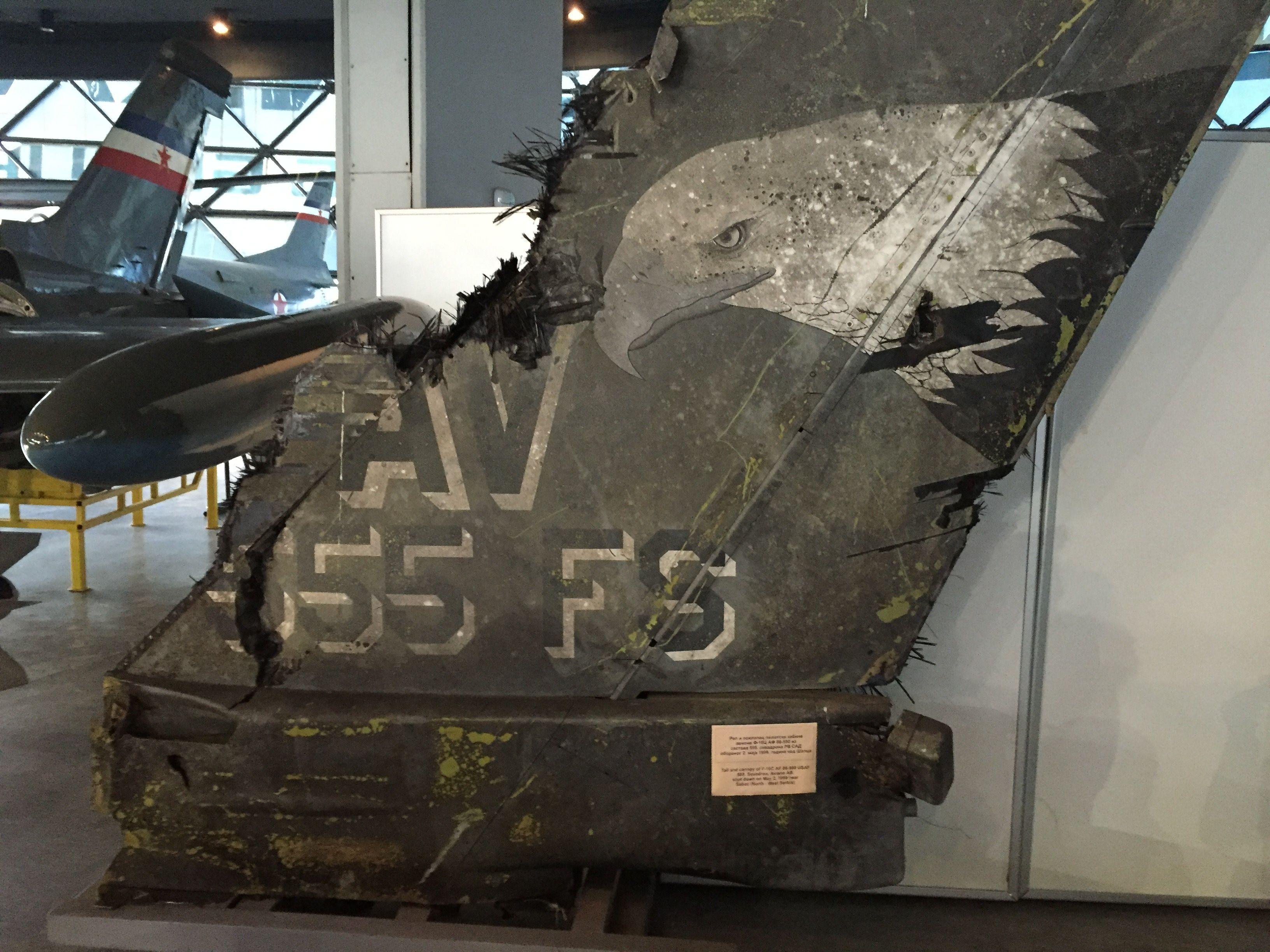 Tail of USAF F16 (shot down on 2 May 1999 near Sabac