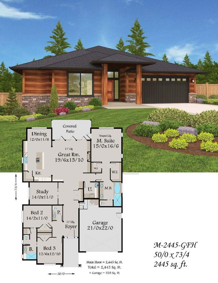 Plan #M-2445-GFH from Mark Stewart Home Design | One-Story Home ...