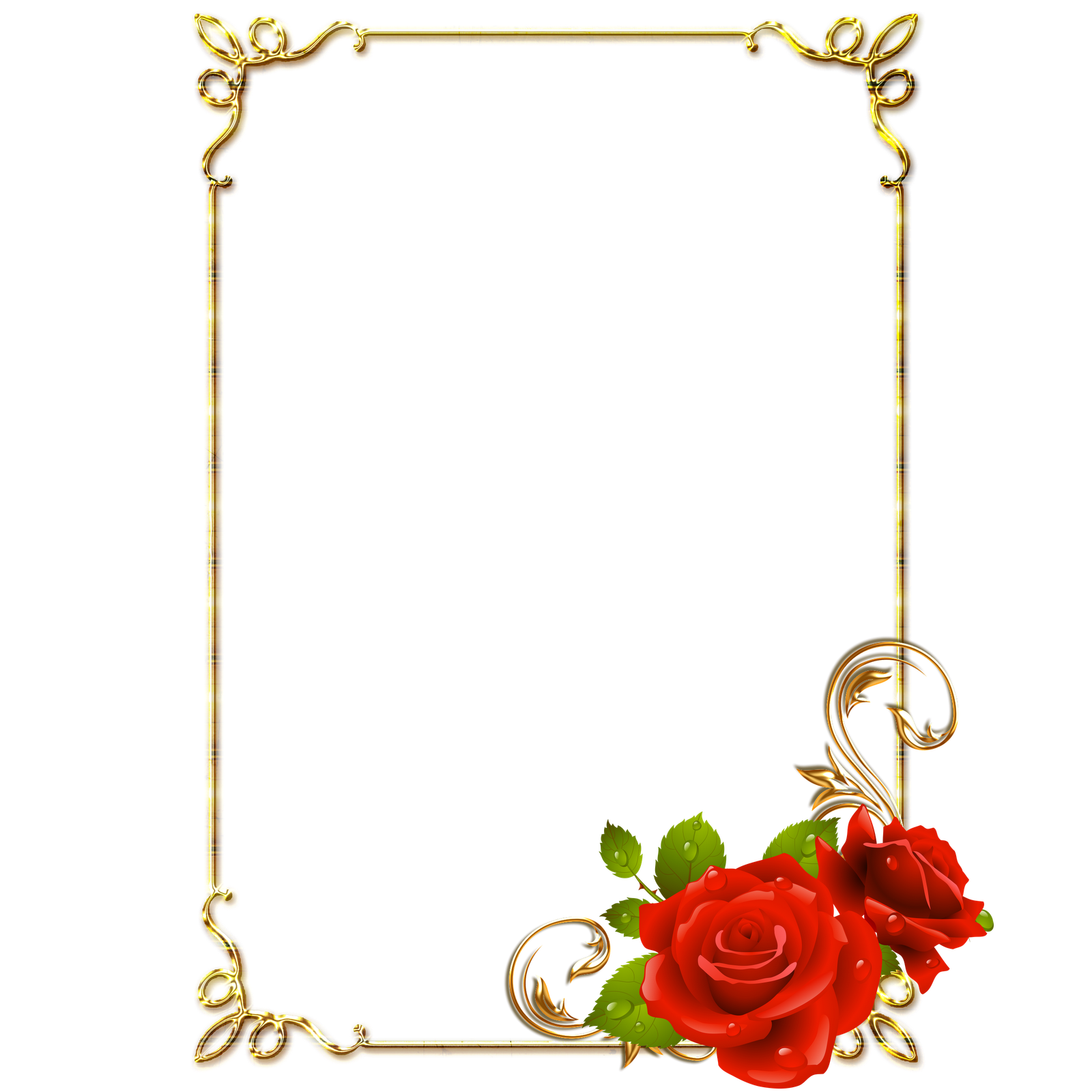 Imagens para photoshop: Frames PNG douradas com rosa vermelhas ...