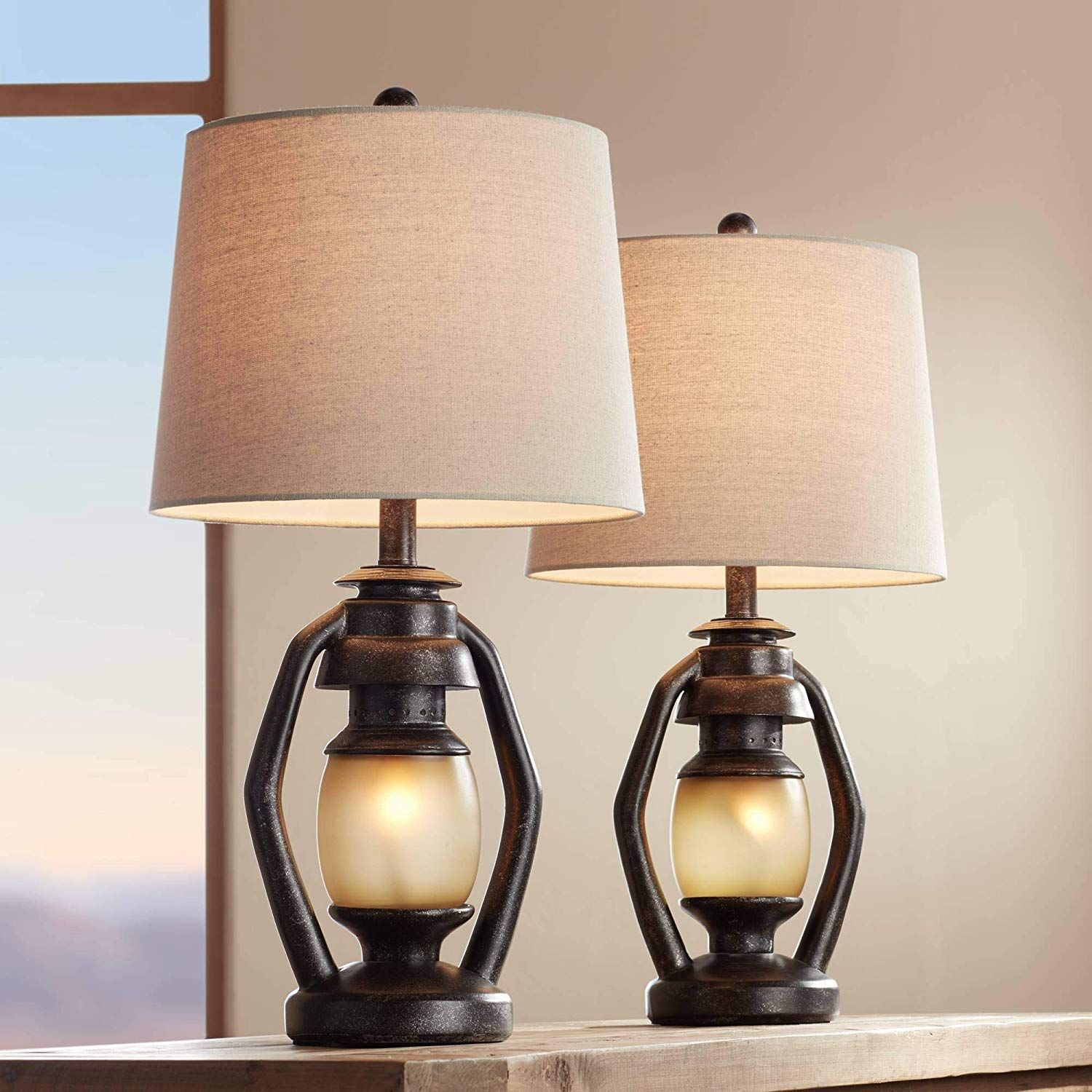 Horace Rustic Farmhouse Table Lamps Set Of 2 With Nightlight Miner