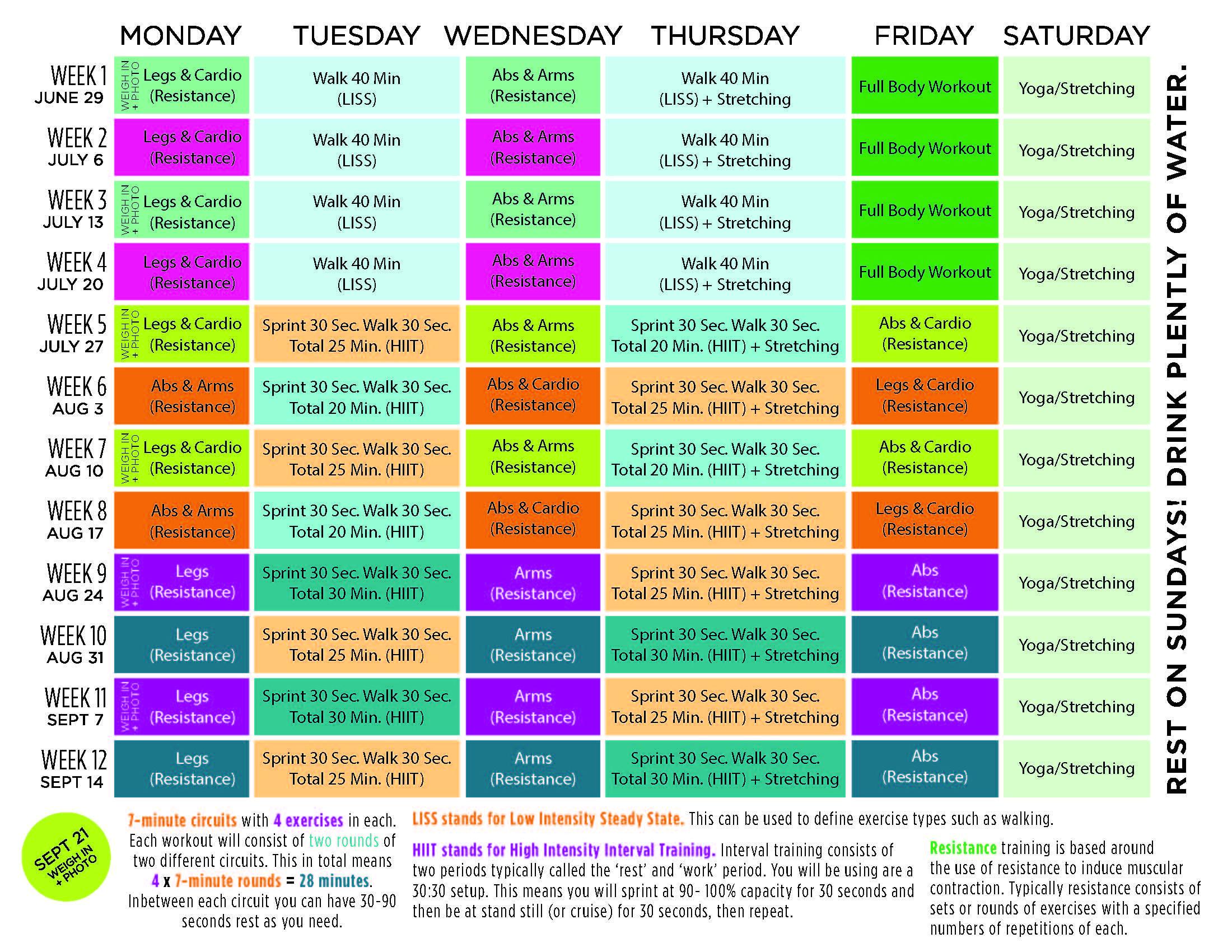 Kayla Itsines Beach Body Workout Calendar | Kayla Itsines ...