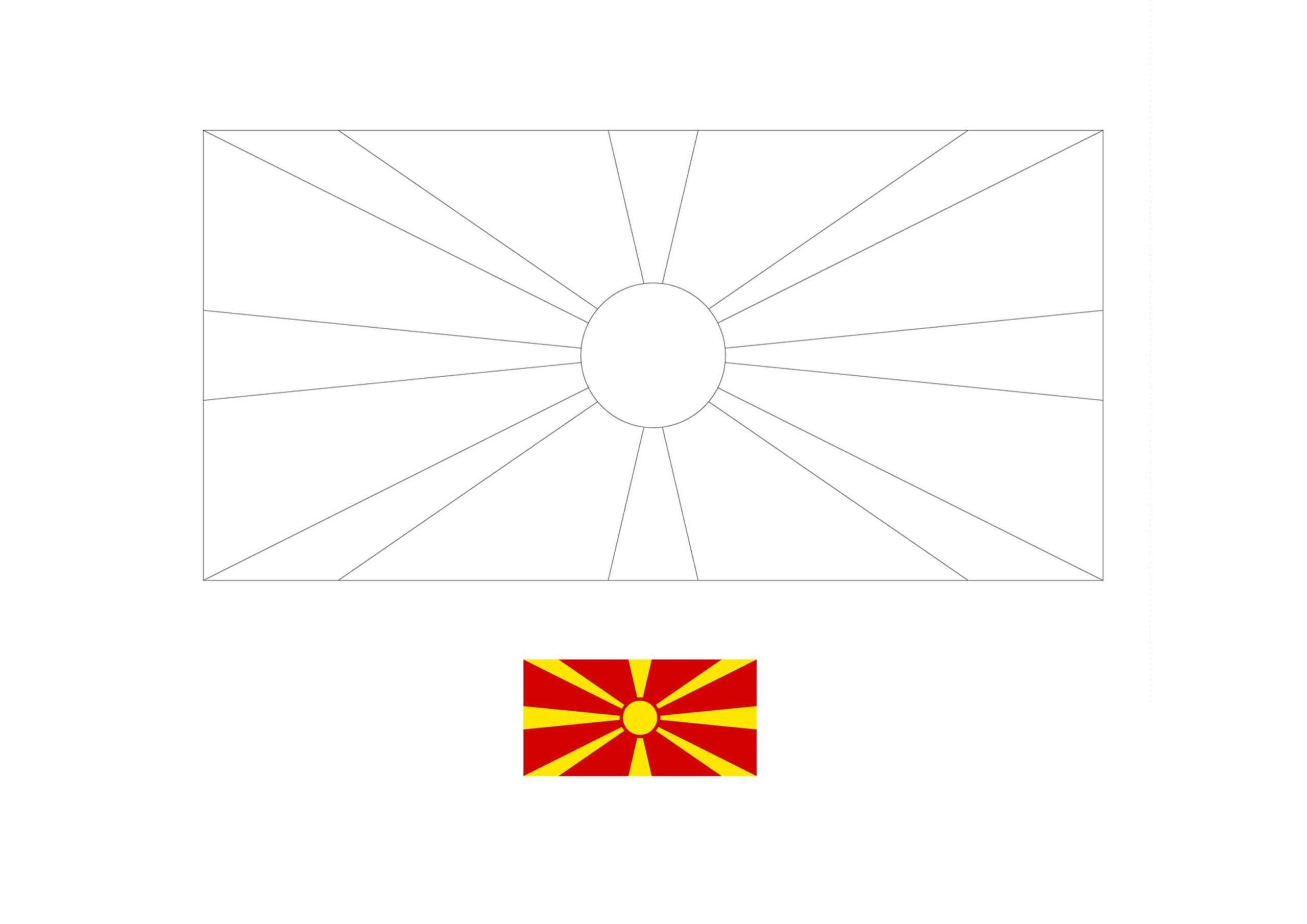Flag Of North Macedonia Coloring Page Free Coloring Sheets