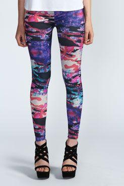 Emilija Splash Print Leggings - Boohoo