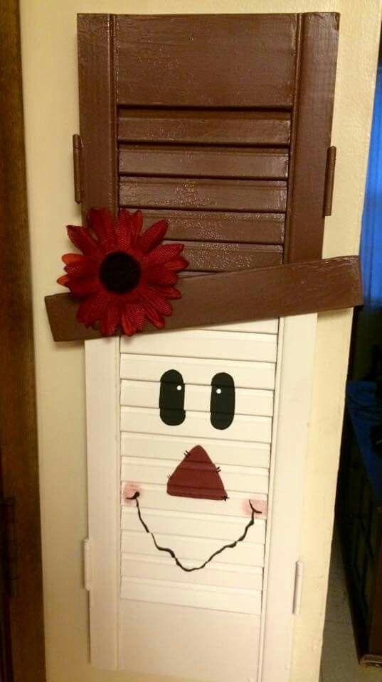 Scarecrow Snowman Shutter By Jami Shutter Decor Diy