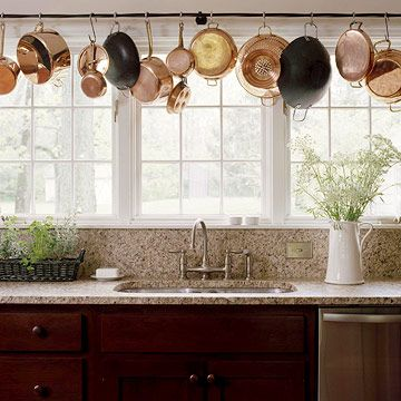 15 Ways to Refresh Your Kitchen Copper, Curtain rods and Pot racks