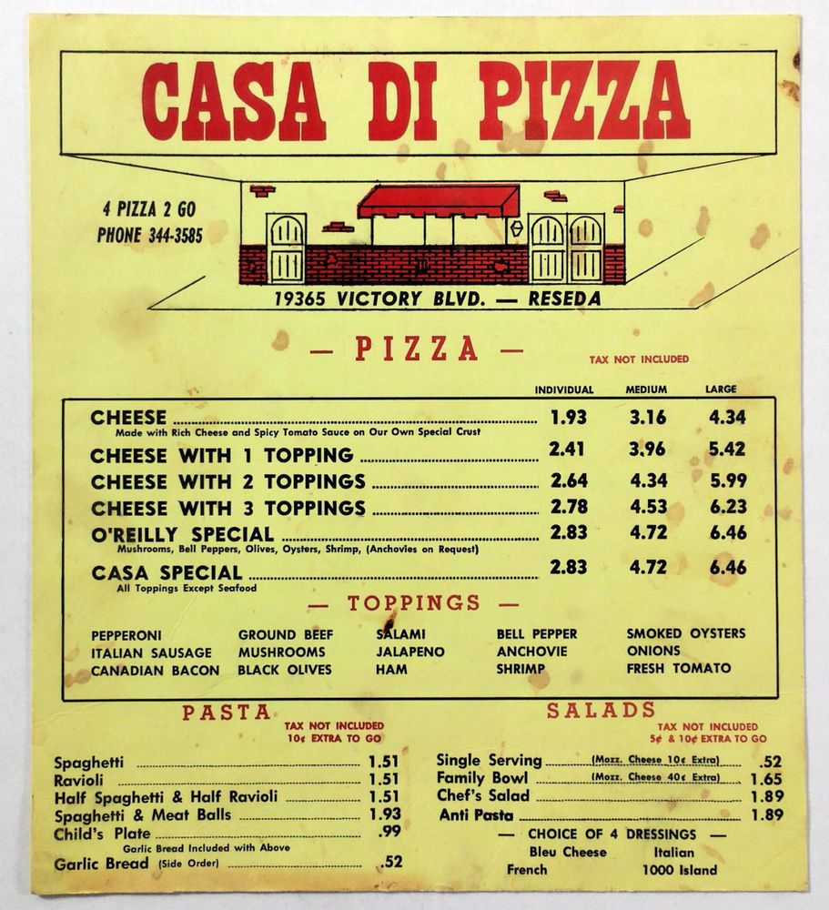 1970's Vintage Take-Out Menu CASA DI PIZZA Italian