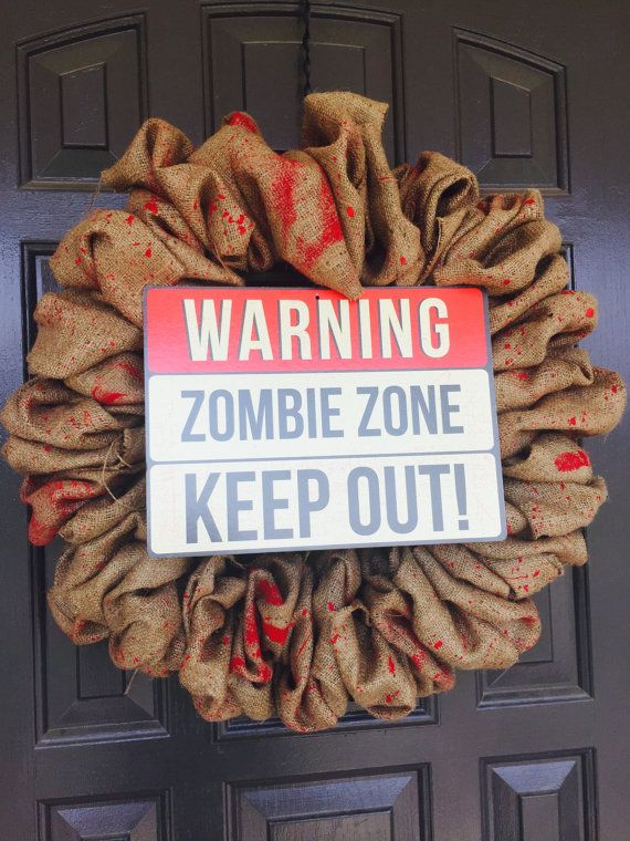 Halloween Decorations Zombie Burlap Wreath Halloween Pinterest - zombie halloween decorations