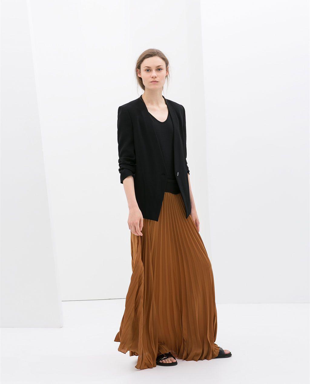 Black long skirt zara new photo