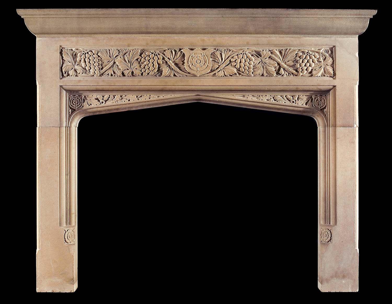 Antique Yorkstone Tudor Gothic fireplace mantel.   Living Room ...