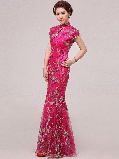 Fuchsia Fishtail Cheongsam / Qipao / Chinese Wedding / Prom Dress ...