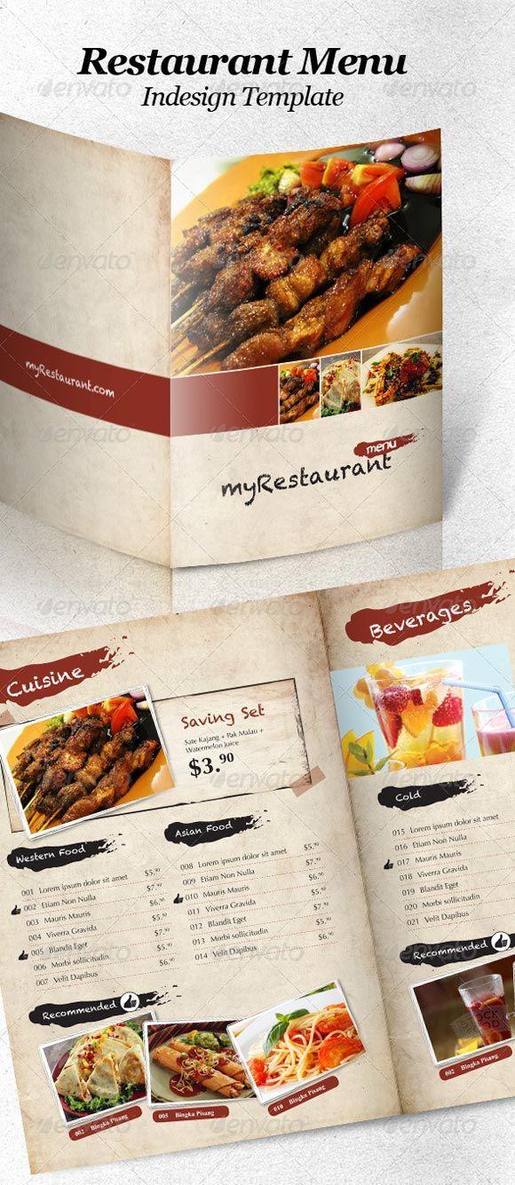food menu Graphic Design Pinterest Restaurant menu template