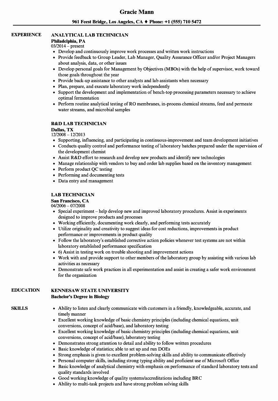 Resume for Laboratory Technician New Lab Technician Resume