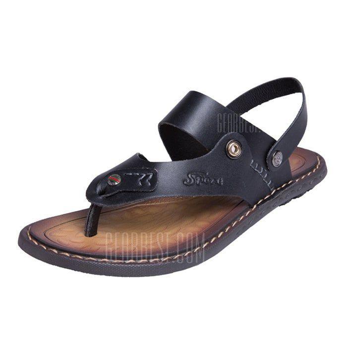 e58ce9776 Men Trendy PU Leather Flip-flops Sandals Slipper