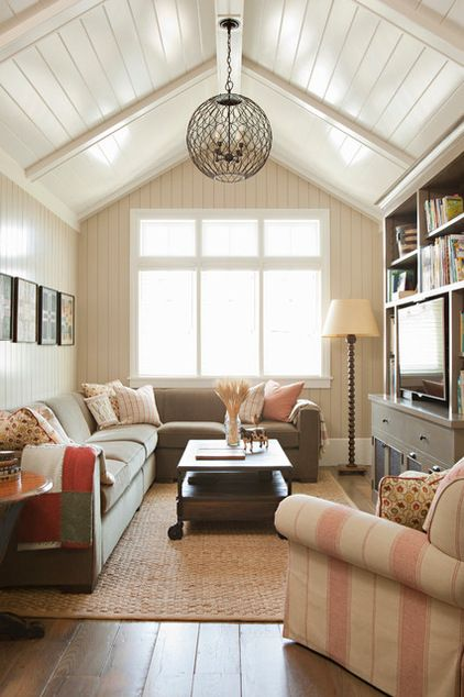 Four Inch Vertical Tongue And Groove Planks On The Wall Coordinate With The Wood Box Beams And 6 Inch Horizont Home Family Room Design Traditional Family Rooms