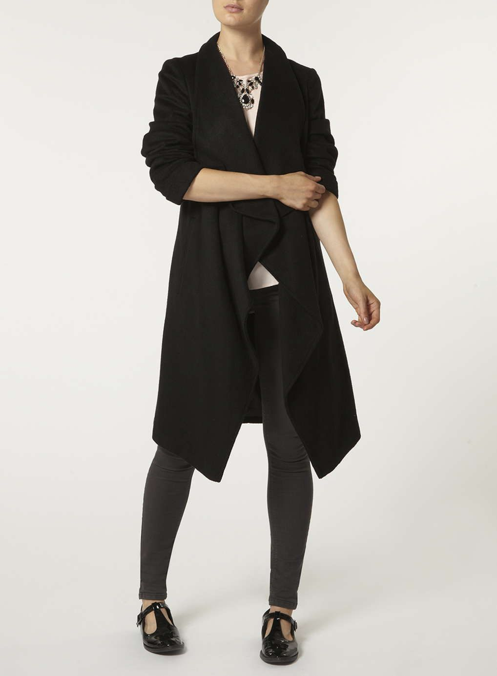 Wool Waterfall Jacket - Black Colour, Black Top and Black Pants ...