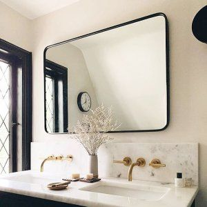 Photo of 30″ x 42″ Oil-Rubbed Bronze Rounded Rectangle Metal Framed Mirror | Rejuvenation