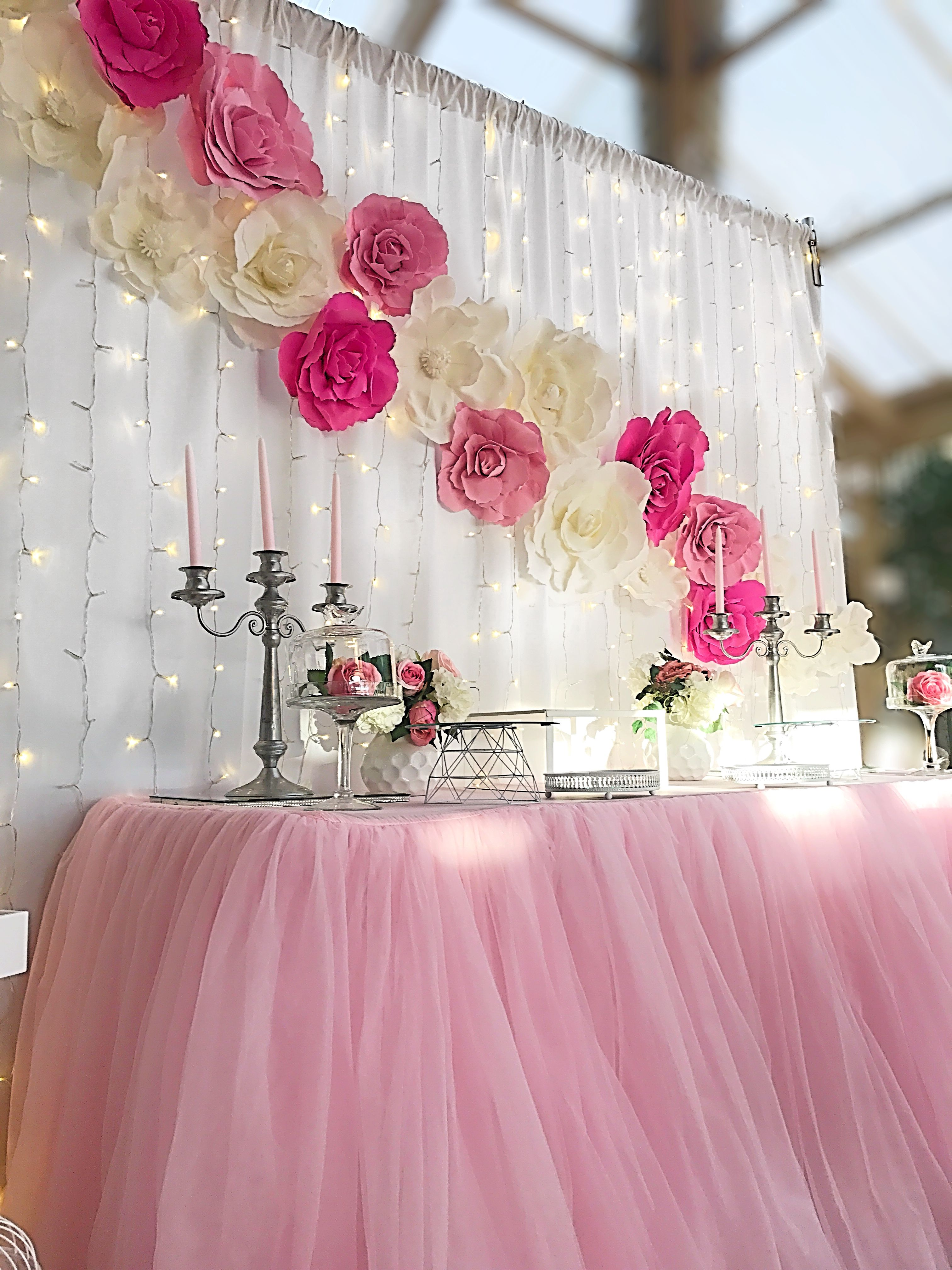 Pink And White Flower Backdrop In 2019 Baby Shower Flowers