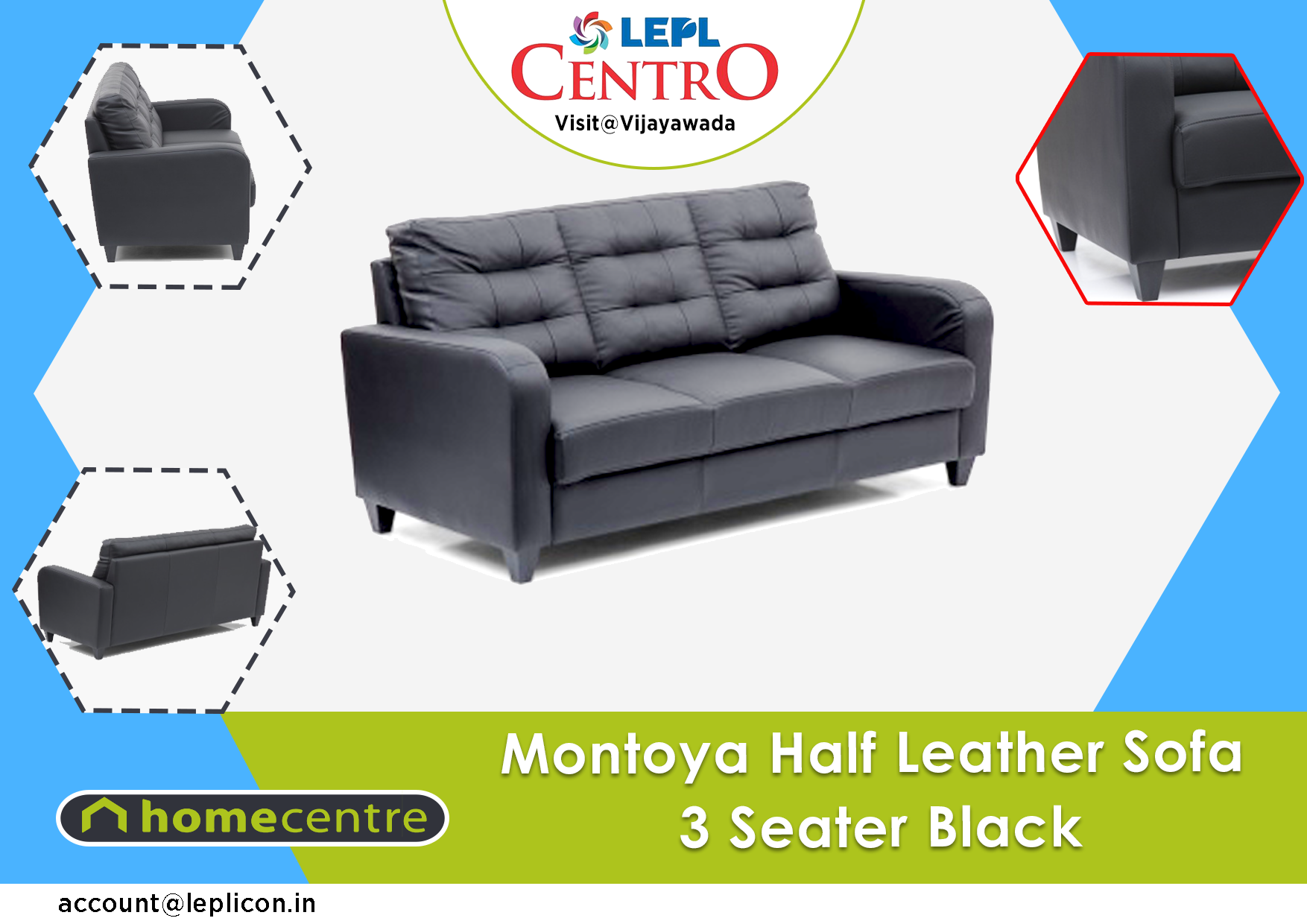 Buy Montoya Half Leather Sofa That Will Add Life To Any Part Of Your Home At Home Centre In Lepl Centro Vijayawada India Lea Leather Sofa Home Furniture Sofa