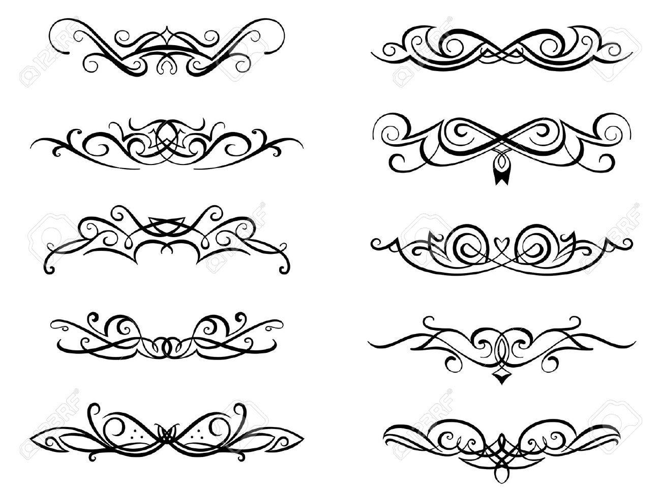 Vignettes And Monograms Set In Vintage Floral Style For Design Vintage Floral Style Royalty Free Photography Monogram