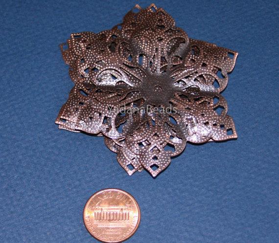 10 pcs of Antiqued Copper filigree pendant drop 63mm