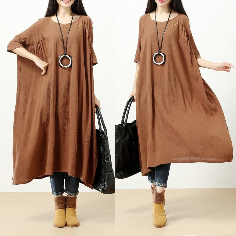 1c54cf3c539d Linen Chic Embroidery Round Neck Short Sleeves Loose Women Brown Dress -  Buykud