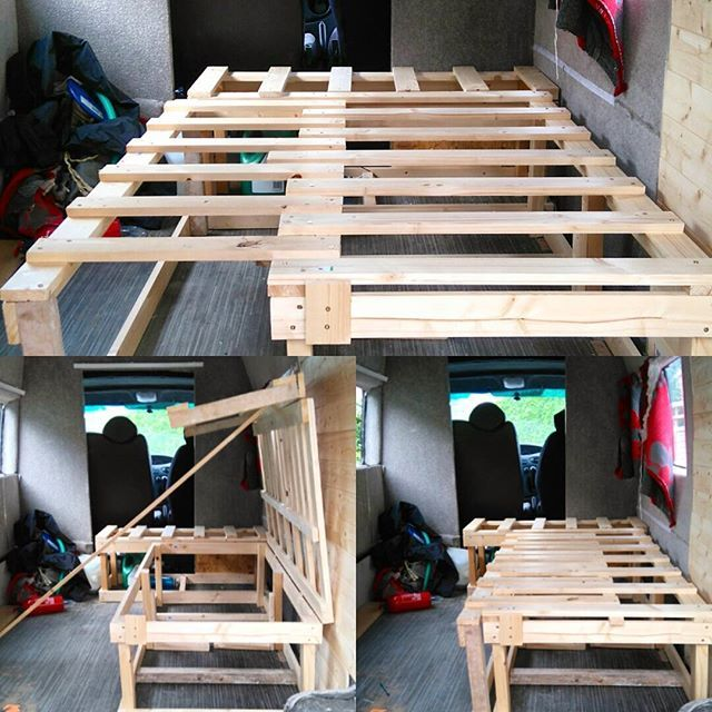 finally got round to building the bed for the van ibuiltsomething prayitdoesntbreak vanlife. Black Bedroom Furniture Sets. Home Design Ideas