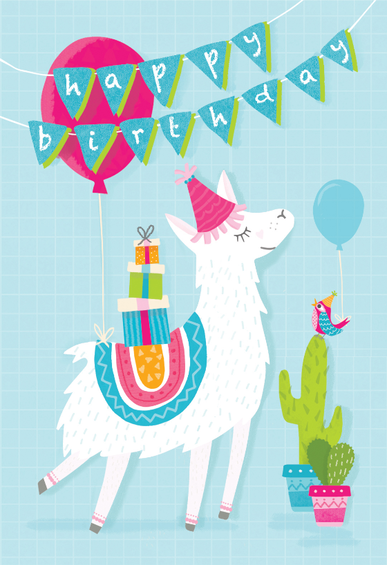 Llama Drama Birthday Card Free Greetings Island Happy Birthday Cards Printable Kids Birthday Cards Birthday Illustration
