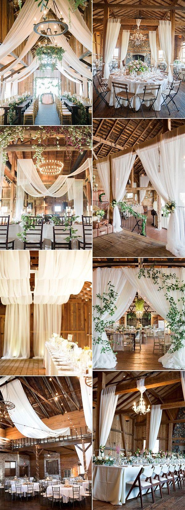 Trending-20 Brilliant Wedding Reception Ideas with Draped Fabric for 2019 - Page 2 of 2 -   17 wedding Barn diy ideas