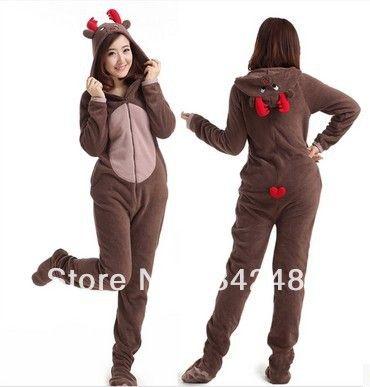 Christmas Deer Fleece Cotton Adult Unisex Footed Pajamas Sleepsuit ...