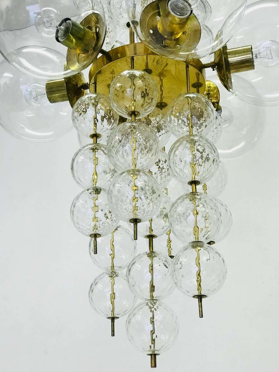 Large Glass Chandelier Kamenicky Senov 1965 Glass Chandelier