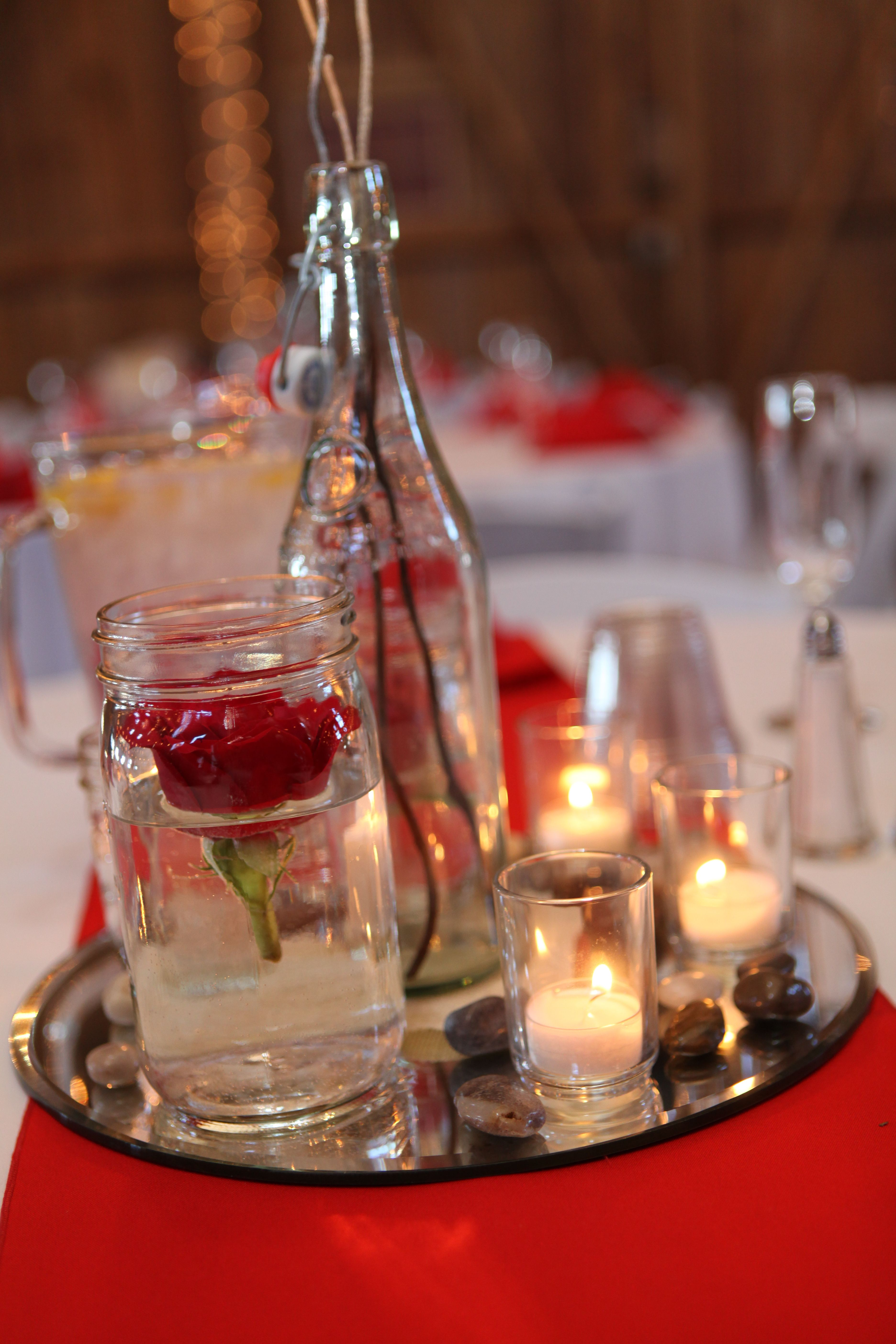 My Centerpieces Bottles Mason Jars Red Roses And Candles On Mirrors Centerpieces Mason Jars Jar