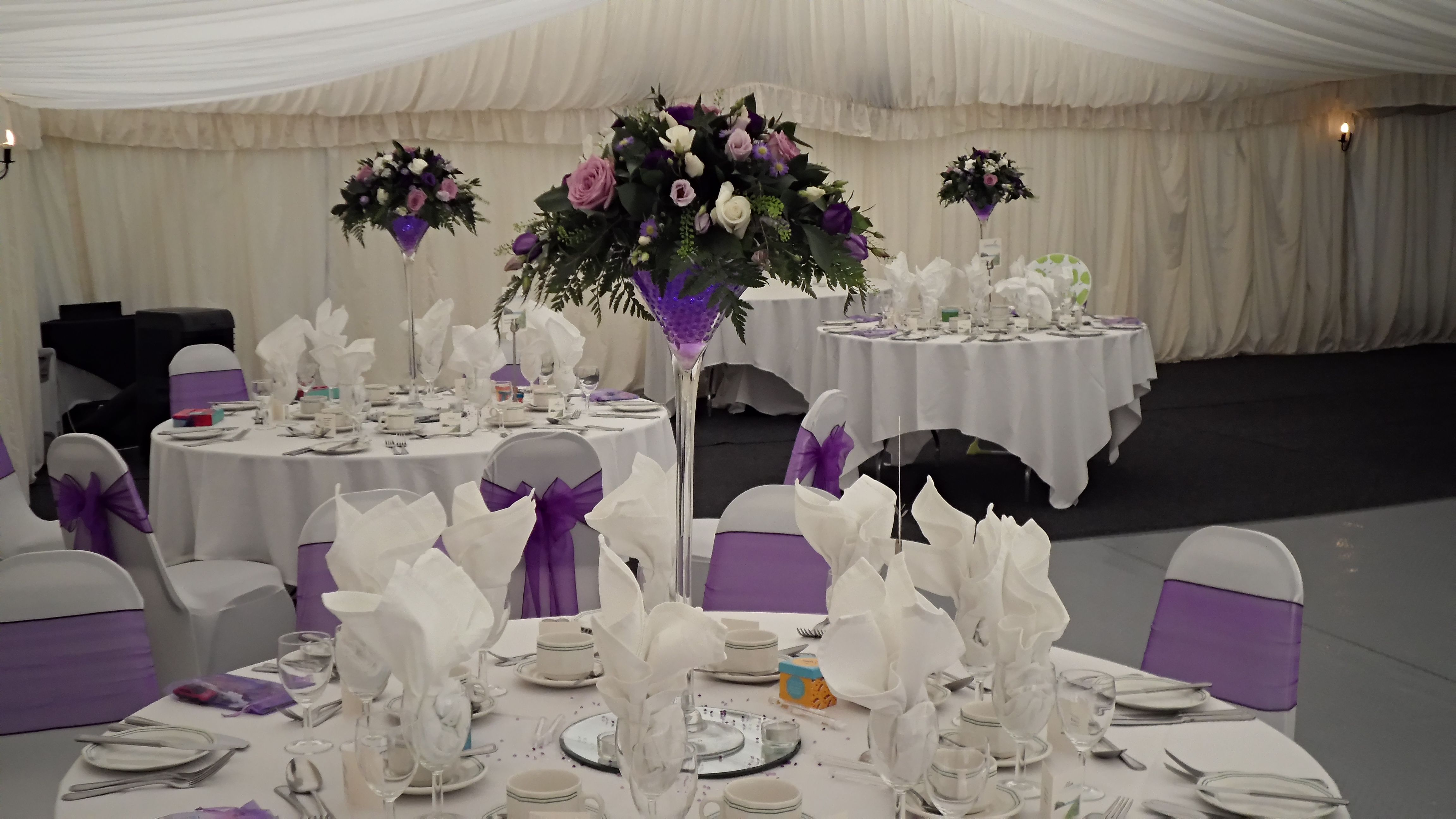 Martini Glass Table Centre Pieces In Purple, Lilac And White