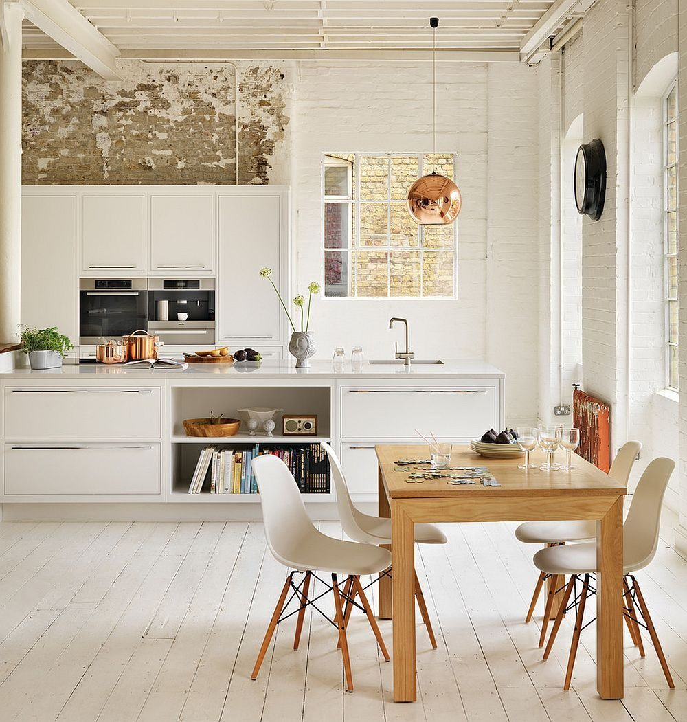 White Kitchen Exposed Brick scandinavian kitchen with exposed brick wall containing: white