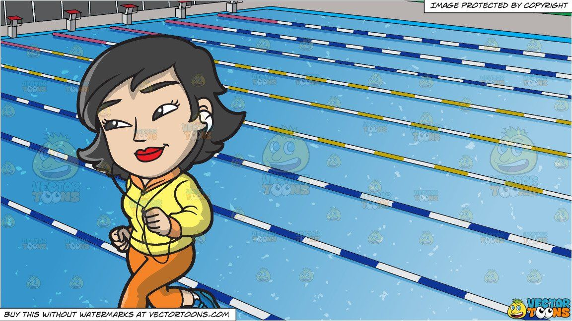 Clipart Cartoon A Chinese Woman Running To Stay Healthy And Outdoor Competition Swimming Pool