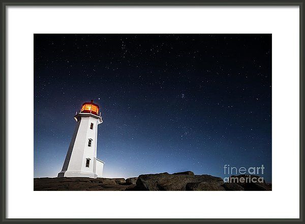 Peggy S Cove Lighthouse At Night Framed Print By Mike Organ Framed Prints Lighthouse Cove